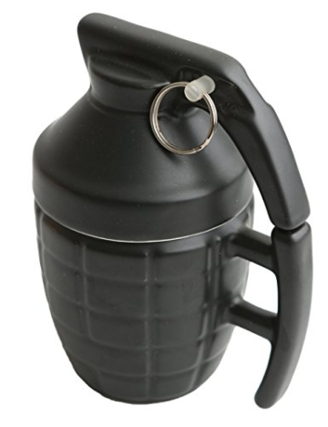 Ailiebhaus Tasse Handgranate, aus Keramik, mit Deckel, Füllmenge: 280 ml, Schwarz -