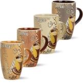 matches21 Große Tassen Becher Kaffeetassen Kaffeebecher Modern Coffee aus Keramik 4-tlg. Set je 12 cm / 350 ml -