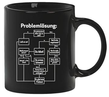 Nerd Kaffeetasse Kaffeebecher mit Problemlösung Motiv von ShirtStreet, Größe: onesize,Schwarz -